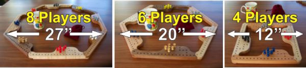 4, 6, and 8 player Pegs and Jokers Game sizes