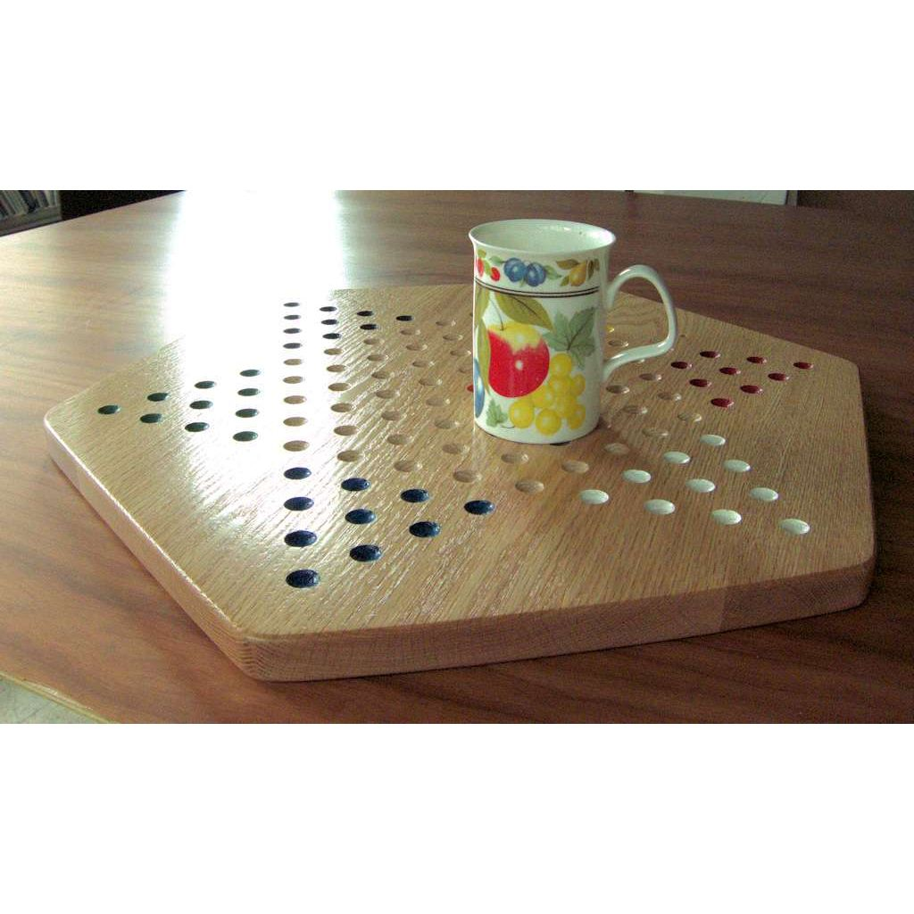 Solid Oak Wood Chinese Checkers Game