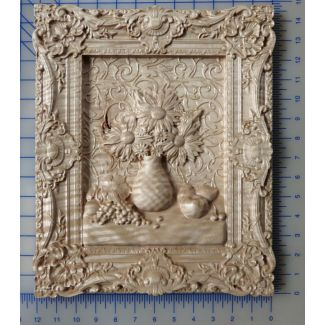 Flowers and Grapes 3d Carving