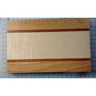 Cutting Board - Curly Maple Cherry Mahogany 18 x 12