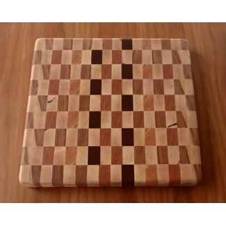 "14""x14"" Checkered End Grain Cutting Board"