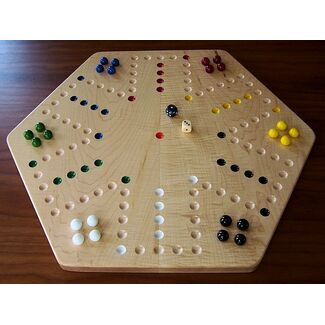 Curly Maple Aggravation Board Game (with Marbles)