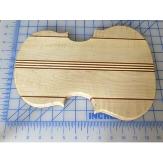 Violin/Cello Cutting Board - Curly Maple, Walnut 13x9