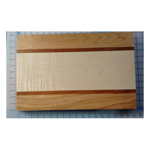 Cutting Board - Curly Maple Cherry Mahogany 18 x 12