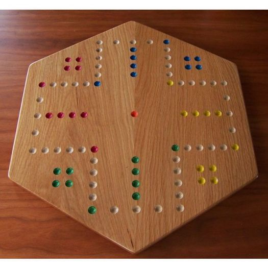 Solid Oak Aggravation Board - 4 player side